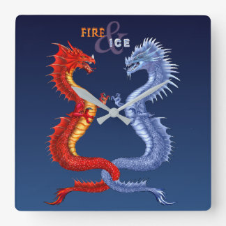 FIRE & ICE SQUARE WALL CLOCK
