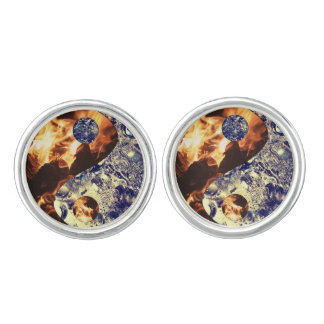 Fire & Ice Yin Yang Cuff Links