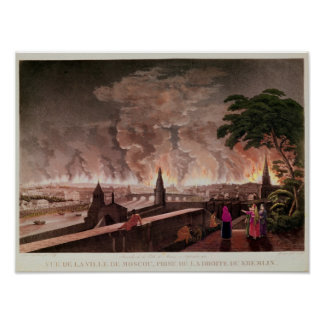 Fire in Moscow, September 1812. engraved by Poster