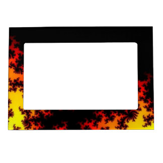 Fire In The Dark Abstract Fractal Art Frame Magnets