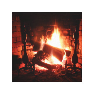 Fire in the Fireplace Canvas