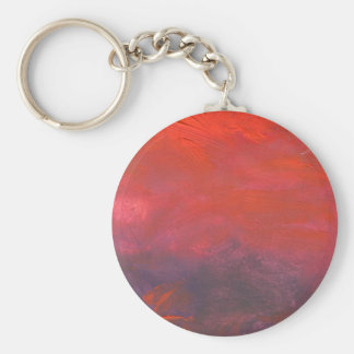 Fire in the Sky Purple and Red Abstract Landscape Basic Round Button Keychain