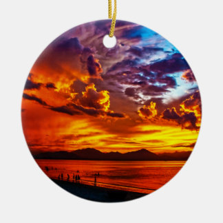Fire in the Sky Round Ceramic Ornament