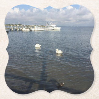 Fire Island New York Ocean Swans Coaster
