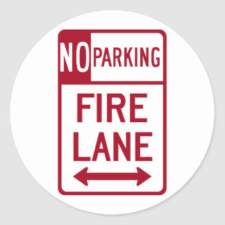 Fire Lane No Parking Sign Classic Round Sticker