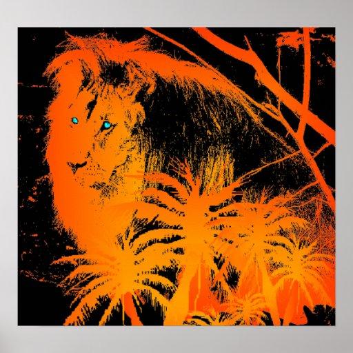 Fire Lion Poster