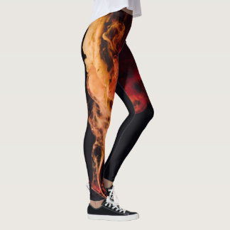 Fire on Black Leggins Leggings