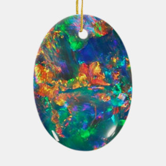 Fire Opal Ceramic Oval Ornament
