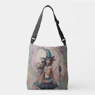 Fire Opal Witch Fantasy Art Halloween Wiccan Crossbody Bag