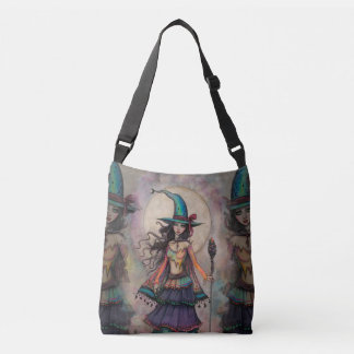 Fire Opal Witch Fantasy Art Halloween Wiccan Crossbody Bag
