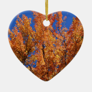 Fire Orange Tree Ceramic Heart Ornament