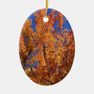 Fire Orange Tree Ceramic Oval Ornament