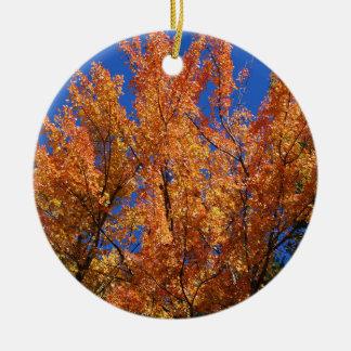 Fire Orange Tree Round Ceramic Ornament