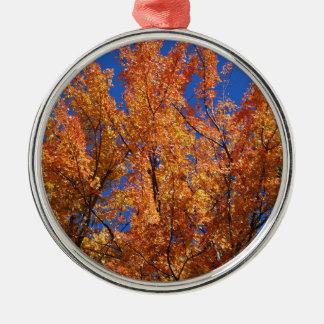 Fire Orange Tree Silver-Colored Round Ornament