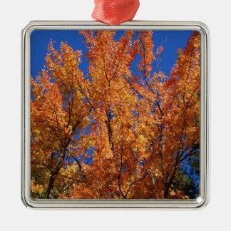 Fire Orange Tree Silver-Colored Square Ornament