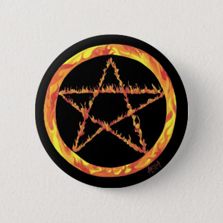 Fire Pentacle 2 Inch Round Button