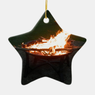 Fire pit bonfire image ceramic ornament
