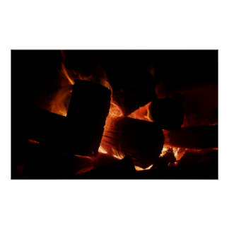 Fire Pit Warm Orange and Black Winter Photography Poster