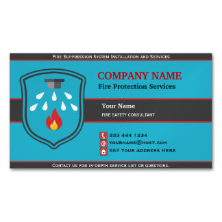 Fire Protection Shield Magnetic Business Card