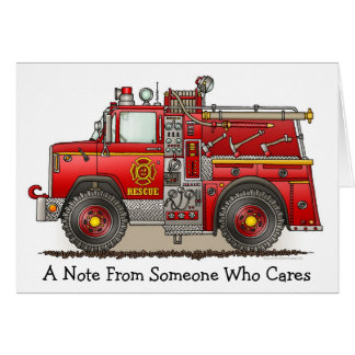 Fire Pumper Rescue Truck Note Card