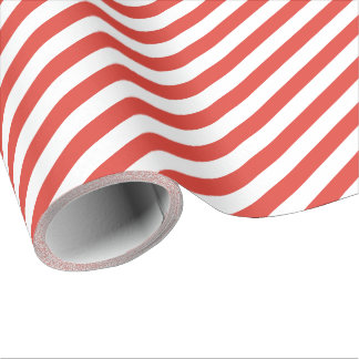 Fire Red Diagonal Stripe Wrapping Paper
