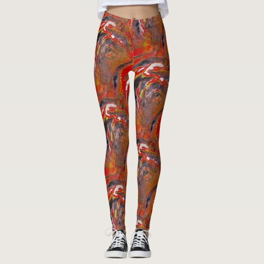 Fire Red Wood Rose Patterned Leggings