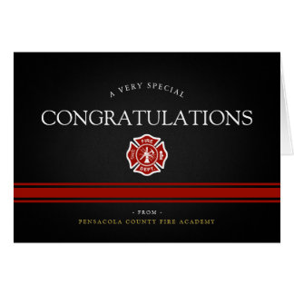 Fire Rescue Academy Custom Black Congrats Card