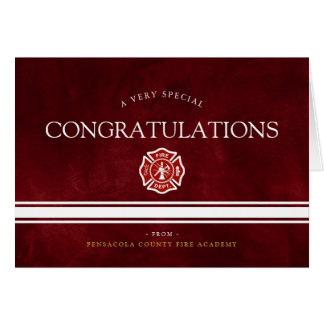 Fire Rescue Academy Custom Red Congrats Card