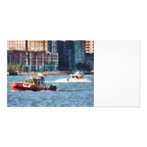 Fire Rescue Boat Hudson River Photo Card Template