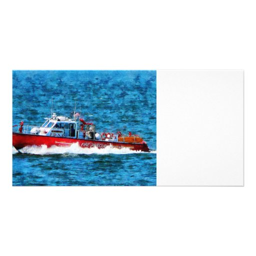 Fire Rescue Boat Customized Photo Card