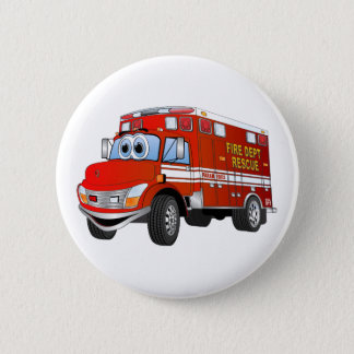 Fire Rescue Cartoon 2 Inch Round Button