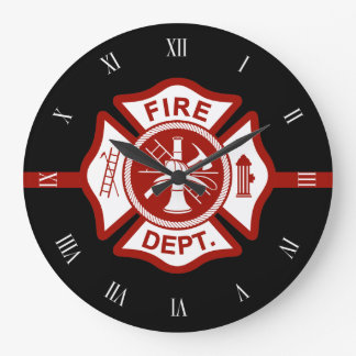 Fire Rescue Maltese Cross Symbol Black Large Clock