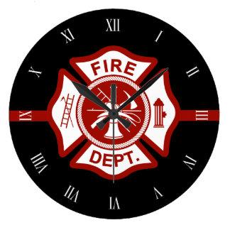 Fire Rescue Maltese Cross Symbol Black Wall Clocks