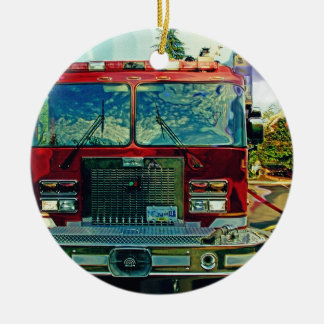 Fire Rescue Truck Emergency Vehicle Ceramic Ornament