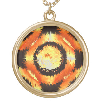 """Fire Rings"" By Douglas J. Moore Gold Plated Necklace"