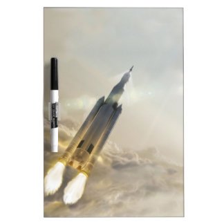 FIRE ROCKET SPACE LAUNCH MISSION SYSTEM LAUNCHING DRY ERASE WHITE BOARD