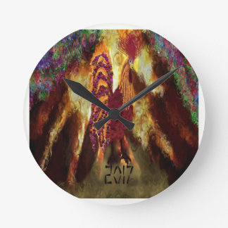 Fire Rooster 2017 Round Clock