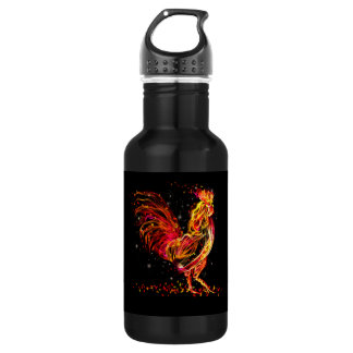 Fire rooster. Flaming animal sparkle cool design 532 Ml Water Bottle