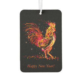 Fire rooster. Flaming animal sparkle cool design Air Freshener