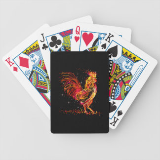 Fire rooster. Flaming animal sparkle cool design Bicycle Playing Cards