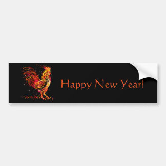 Fire rooster. Flaming animal sparkle cool design Bumper Sticker