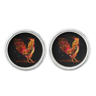 Fire rooster. Flaming animal sparkle cool design Cufflinks