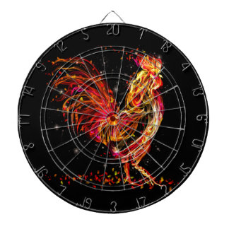 Fire rooster. Flaming animal sparkle cool design Dartboard