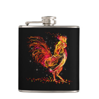 Fire rooster. Flaming animal sparkle cool design Flask