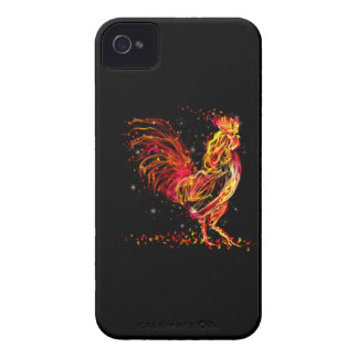 Fire rooster. Flaming animal sparkle cool design iPhone 4 Case-Mate Case