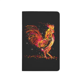 Fire rooster. Flaming animal sparkle cool design Journal