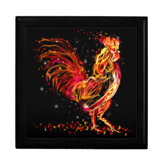 Fire rooster. Flaming animal sparkle cool design Keepsake Box