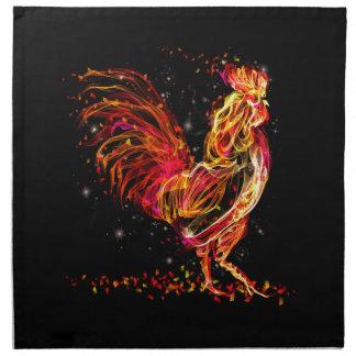 Fire rooster. Flaming animal sparkle cool design Napkins