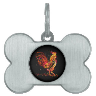 Fire rooster. Flaming animal sparkle cool design Pet ID Tag