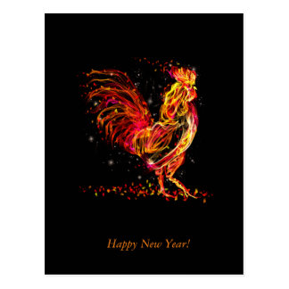 Fire rooster. Flaming animal sparkle cool design Postcard